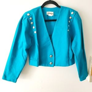 90's Banjo Western Crop Jacket Turquoise Slv Jck M